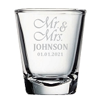 Shot Glass Mr Mrs Wedding Design Personalized Engraved