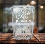 Shot Glass Fluted Bottom Mr Mrs Wedding Design Personalized Engraved