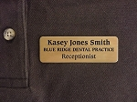 Brass Employee ID Name Tag Badge 1x3 Magnetic Back