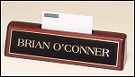 Desk Office Nameplate with Business Card Holder rosewood piano-finish