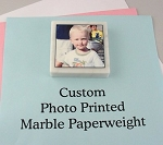 Custom Photo Printed Marble Paperweight 3x3