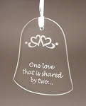 Beveled Glass Wedding Bell Anniversary Ornament  Personalized