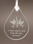 Beveled Glass Tear Drop Wedding Anniversary Ornament  Personalized