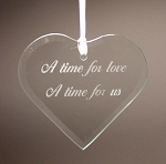 Beveled Glass Heart Wedding or Anniversary Ornament  Personalized