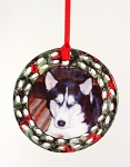 Custom Photo Printed Pet Porcelain Christmas Open Wreath Ornament