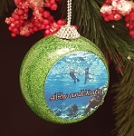 Green Glitter Ball Photo Ornament