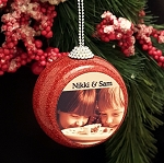 Red Glitter Ball Photo Ornament