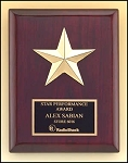 Rosewood Piano Finish Gold Star Plaque 6 x 8