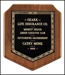 Walnut Shield Award Plaque 7 x 8