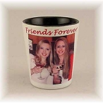 Photo Shot Glass White Ceramic with Black Interior  Personalized with your Photo or Logo