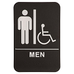 Men's Bathroom Handicap Accessible ADA Sign 6x9 Black