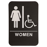 Womens Bathroom Handicap Accessible ADA Sign 6x9 Black