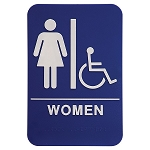 Womens Bathroom Handicap Accessible ADA Sign 6x9 Blue
