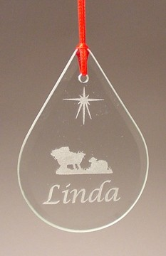 Beveled Glass Tear Drop Christmas Holiday Ornament Personalized