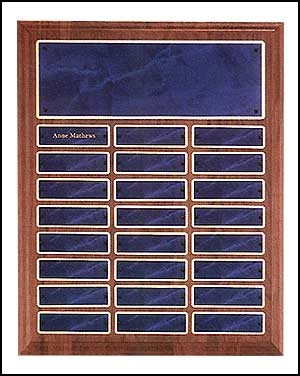 Walnut Perpetual Plaque with 24 sapphire blue name plates