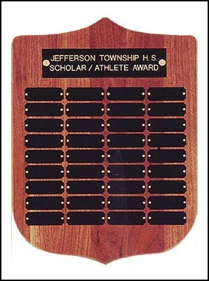 Walnut Shield Shaped Perpetual Plaque with 36 name plates