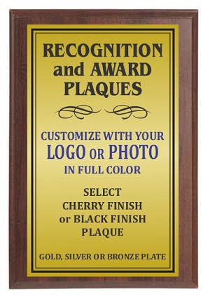 4x6 Traditional Plaque Cherry Finish