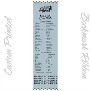 "CUSTOM PRINTED The Books of The Bible Satin Ribbon Bookmark 2"" x 9"" Promotional Bookmarks Personalized"