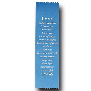 "Love Satin Ribbon Bookmark 2"" x 9"" Promotional Bookmarks"