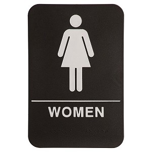 Womens Bathroom ADA Sign 6x9 Black