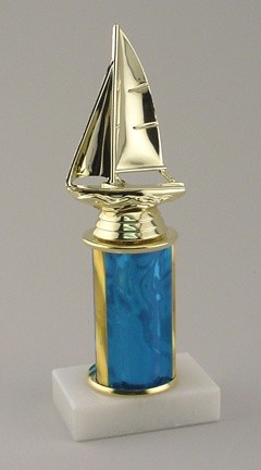 Sailing Regatta Sailboat Trophy with Marble Base Engraving Included